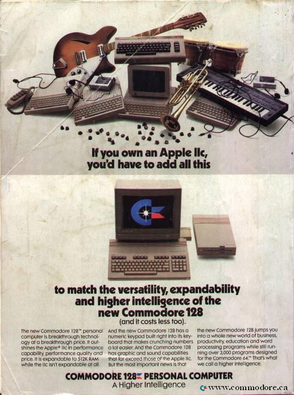 Commodore 128 ad vs Apple IIc