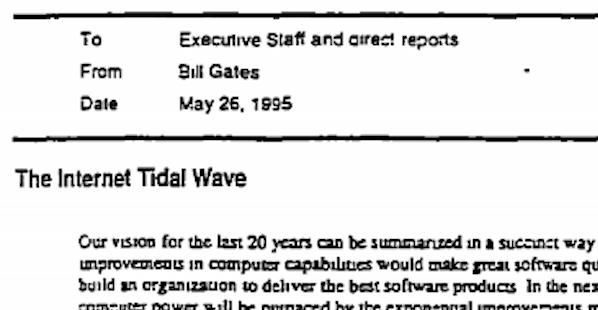 1995 internet tidal wave bill gates